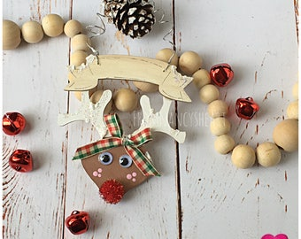 Personalize Kids Rudolph Reindeer Ornament. Christmas Reindeer childrens Ornament. Fun Rustic Reindeer Ornament. Gift for Baby.