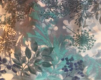 Blue Gray & Teal Floral Fabric (3 yd cut)
