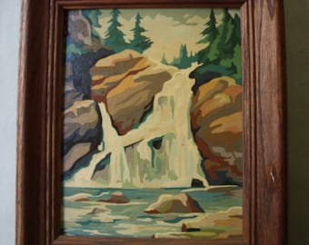 Landscape Oil Painting of Rocks, Waterfall and Evergreens
