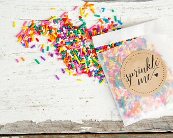 Wedding Sprinkle Send Off - Personal size Toss Pack - Rainbow Sprinkle Candy Toss - Confetti Toss Alternative - 25 finished packets