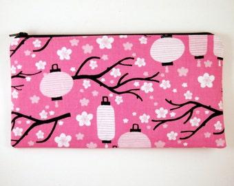 Pink Lantern Zipper Pouch, Pencil Pouch, Make Up Bag, Gadget Bag