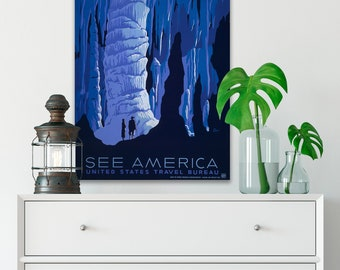 CANVAS WPA Poster, See America Canvas Artwork, Vintage Travel Poster, 1930s Retro Posters, Vintage Wall Decor, Travel Lover Gift. (WPA14)