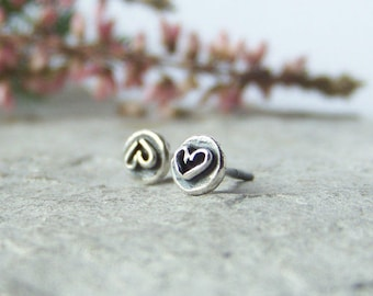 Heart Stud earrings, oxidized sterling silver, handmade ear studs, recycled sterling silver
