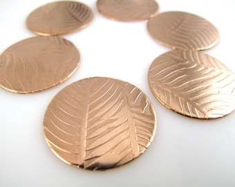 "Copper Discs, Enameling Discs, Textured Copper Discs, 1"" (25mm)  Premium Discs, Feather Discs, JAE-04"