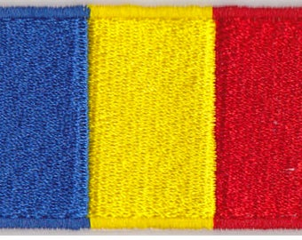 Small Romania Flag Iron On Patch 2.5 x 1.5 inch Free Shipping