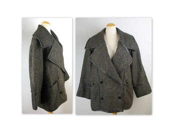 Vintage 80s Charles Jourdan Coat XL Tweed Avant Garde Collar