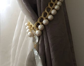 PAIR (x2) of Chanel inspired tiebacks, golden chains curtain holders with faux pearls and vintage crystals