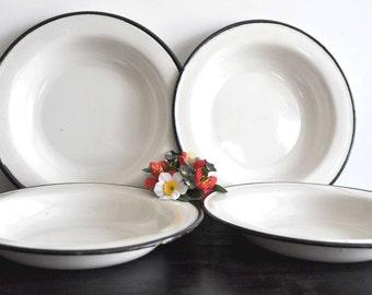 4 Vintage Enamel Plates, Enamelware Dishes, Enamel Plate Set