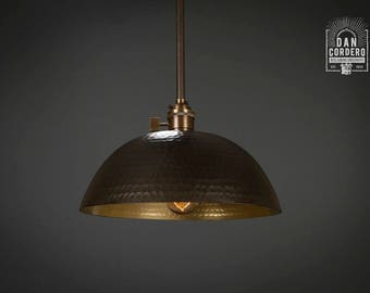 Hammered Shade | Gold & Oil Rubbed Bronze l Pendant Light Fixture | Kitchen Light | Light Fixture | Pendant Light | Small Hammered
