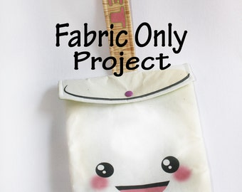 Kawaii Marshmallow fabric project purse, ipad case, tablet case, tech case, easy sewing project, kawaii case