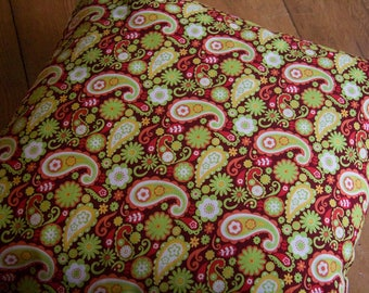 Retro style paisley and flower print cushion