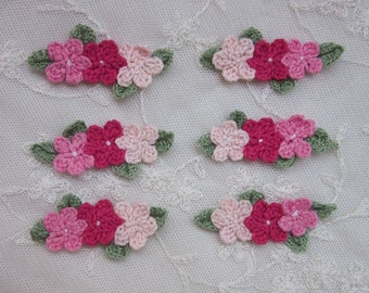 6 pc Set HAND Crocheted PINK Yarn Flower Leaf Applique Baby Girl Hair Accessory