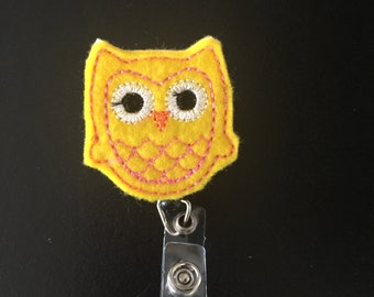 Cute Yellow Owl Badge ID Reel