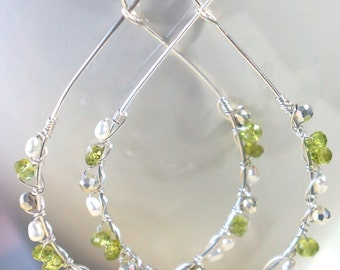 p e r i d o n a . . . .   hand formed recycled sterling silver, fresh water pearl, faceted peridot earrings