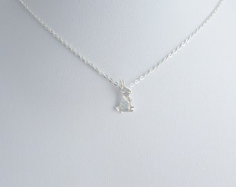 Bunny gifts etsy origami rabbit necklace rabbit necklace animal necklace gifts for bridesmaid easter bunny negle Images