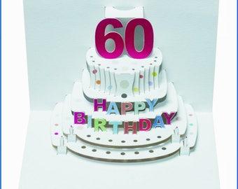 Pop Up Laser cut card - 60th Birthday  POP48