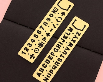 Brass Bookmark Template Stencil Numbers, letter Stencil, metal bookmark, Bullet Journal Stencil, Planner Stencil, Journal Stencils
