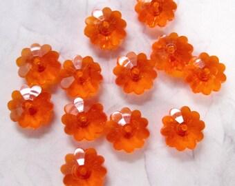 60 pcs. vintage hyacinth orange plastic flower beads 10x4mm - R76