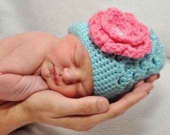 Newborn Crochet Hat, Baby Crochet Hat, Newborn Hospital Hat, Baby Flower Hat, Newborn Flower Hat, Newborn Coming Home Outfit, Crochet Hat
