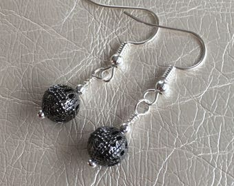 Gray dangle earrings.  Grey drop earrings.  Steel gray earrings.