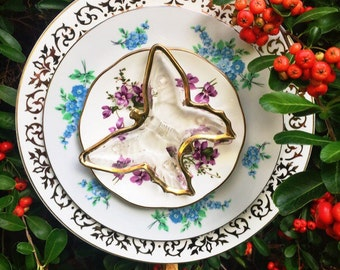 Betty • Butterfly Yard Art • Glass Garden Flower Vintage China • Garden Decor • Repurposed China • Plate Flower