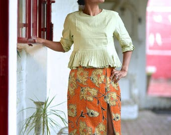 Kinche + Kaito : One of a Kind, Medium Kaito Blouse With Thuban, Kantha Skirt