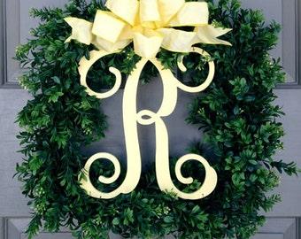 Monogram Square Faux Boxwood Wreath (Yellow)