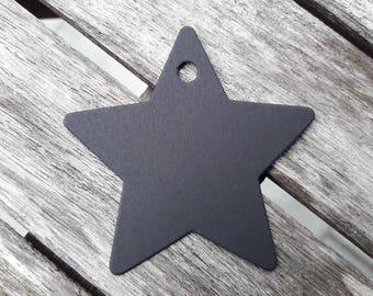 25 Star Tags, Tags, hang tag, hang tags, custom hang tags, Star Black, 6 cm