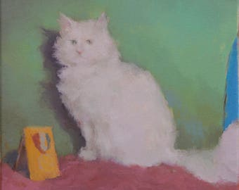 cat painting fine art print, cat art print, cat lovers gift, cat wall art, contemporary art, figurative painting by Michelle Farro