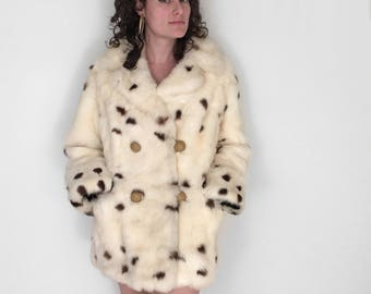 Dappled FUR Pea Coat 60s Luxe Rabbit Spotted Cream Charcoal Black Caramel Brown