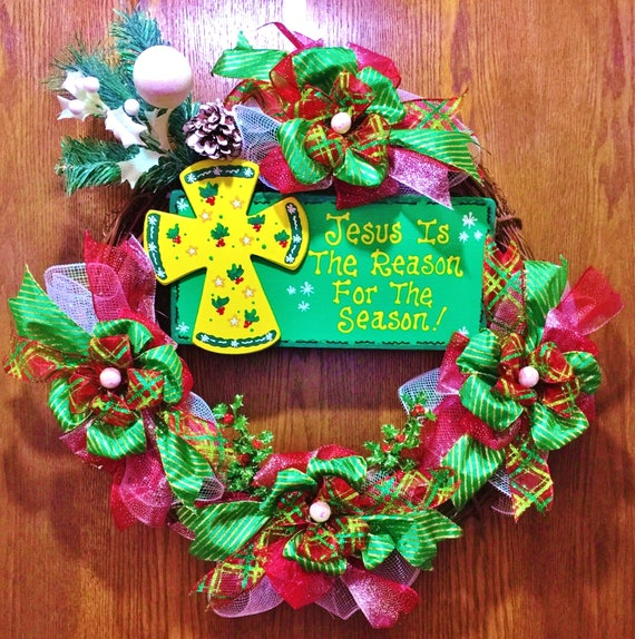 Jesus is the Reason for the Season - Christmas Welcome Door Grapevine Wreath!