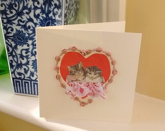 Purrfect Kittens- Funny Cat Valentine's Day Card, Victorian style kitty, Greetings Birthday,Handmade Art,Thinking of You,Thank You,Notelet