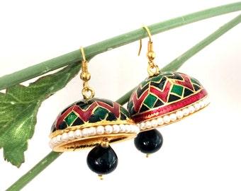 Red Jhumka Earrings Ethnic Jewelry,Indian Gold Jhumkis,Meenakari Jhumka,Black Gold Jewelry by TANEESI