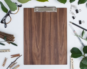Wooden Clipboard. WALNUT, Office Clipboard
