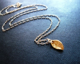 Tiny Gold Leaf Necklace in Vermeil and Gold Filled - Sweet Gold Mint Leaf, Everday Dainty Jewelry