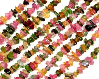 Watermelon Tourmaline Beads, Chips, 3mm - 7mm, 16 Inch, Full strand, Hole 0.8mm, A quality (427005004)