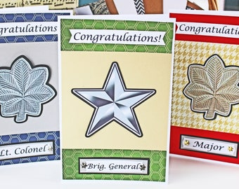 Military, Promotion, Handmade, Card, Lieutenant, Colonel, Captain, Major, General, US, Air, Force, Army, Marines, Navy, Coast, Guard, Nation