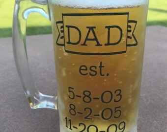 Personalized Dad Est Beer Mug, Christmas Gift for Dad, Fathers Day Gift, Gift for Grandpa, Best Dad gift, Personalized Gift