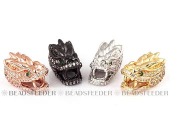 Dragon head bead, Animal beads, Micro Pave Beads / CZ Bead / Clear Cubic Zirconia beads ,space beads,Men Bracelet Charms ,15mm
