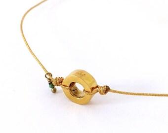 Collar Plata de ley con tres micras de oro/pequeña turquesa/cordón/RONDANITA STONE.