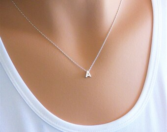100% Sterling Silver Layered Necklace, Initial Layered Necklace, Layering Necklace, Dainty Necklace, Silver Necklace, A Initial,Personalized