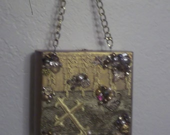 Ladies Cigar Box Purse with Dazzling Gold Decorations  is all wood