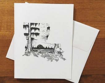 Woodcut Louisiana Card