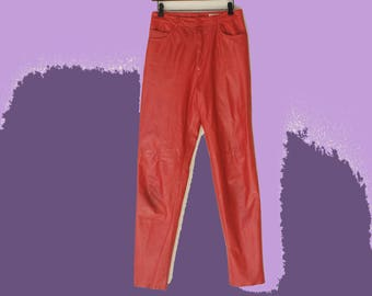 80's Vintage High Waist Red Leather I.Magnin Trousers