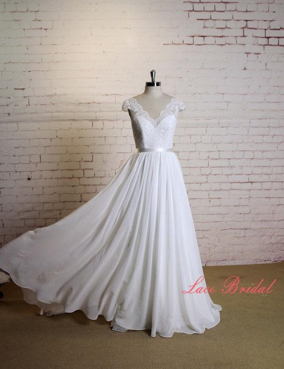 Hochzeits-Kleid mit Kappe Ärmel a-Linie Chiffon Brautkleid mit