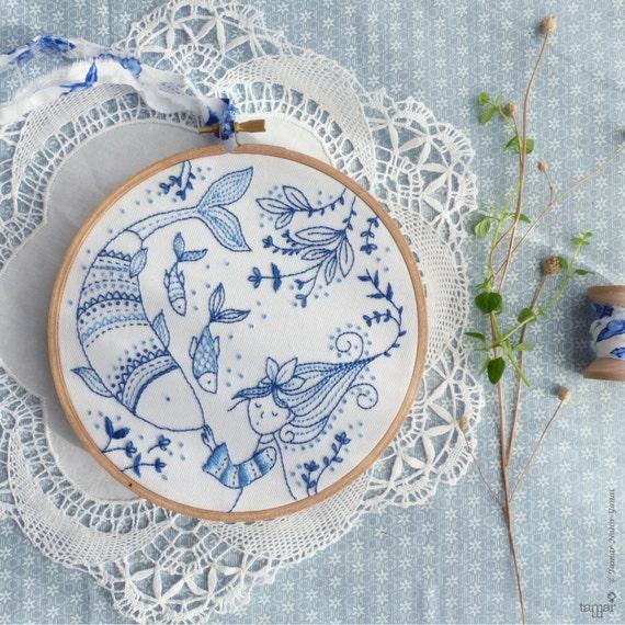 Blue wall art sea hand embroidery ocean princess