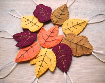 10 autumn leaf decorations, fall leaf ornaments, fall wedding, thanksgiving decor, orange red yellow leaves, oak aspen maple leaf, halloween