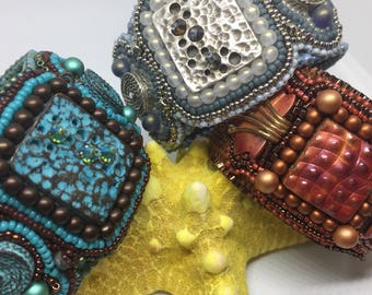 KIT and PATTERN Tutorial Bead Embroidery Cuff Bracelet Top This