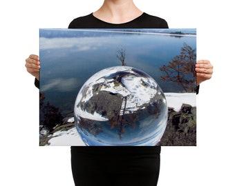 Sphere Photography, Canvas Print, Assorted Sizes, Flathead Lake, Bigfork Montana, Sunshine, Spring Day, Winter Skies, Winter Clear