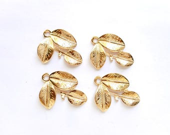 4 Gold Plated Leaf Charms - 21-47-9